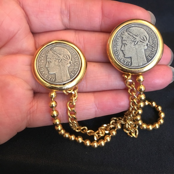 Vintage French Francs Coin Chain Double Brooch Pin Coin Shirt Collar Brooch Sweater Guard Clips Pin With Chain Republique Francaise Coins